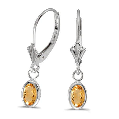 FB Jewels Solid 14k White Gold Dangle Genuine Birthstone Oval Citrine Bezel Lever-back Earrings (0.62 Cttw.) Citrine Bezel Lever Back Earrings