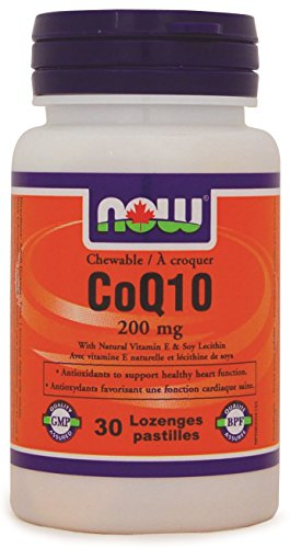 NOW CoQ10 200mg with Lecithin + Vitamin E Chewable, 30 lozenges - Lecithin Chewable Vitamins