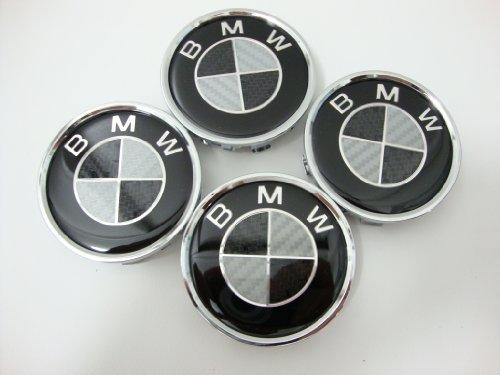 4pcs X BMW Black Carbon Fiber Wheel Center Caps, Badge, Emblem 68mm