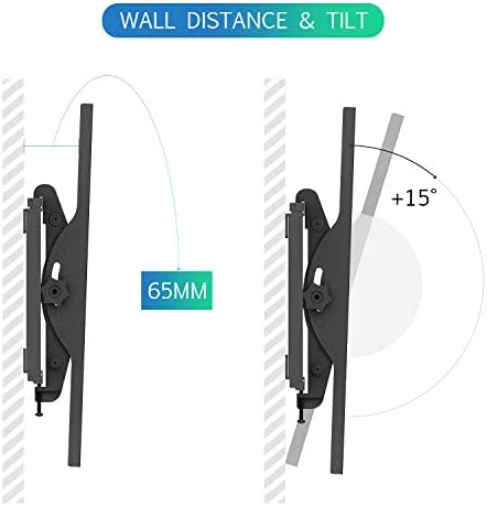 fam famgizmo TV Wall Bracket, VESA 100x100-400x400mm, Ultra Slim Tilt TV Bracket Mount Fits 32-55 Inch Flat&Curved TV up tp 60KG, Spirit Level Included