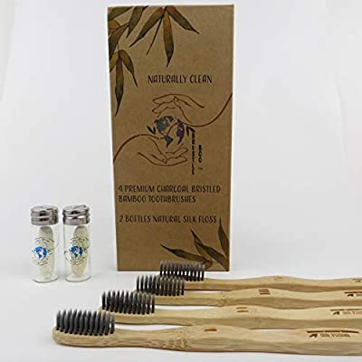 Bristle Boo - All Natural/Organic Soft, Eco Friendly Charcoal-Infused 4 Premium Moso Bamboo Toothbrushes w/2 Glass Bottles of Compostable Peppermint Silk Floss, All Biodegradable, Recyclable, BPA Free