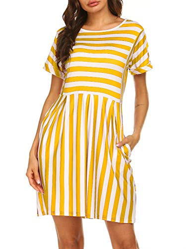 Women Dresses with Pockets,Summer Striped Printed Short Sleeve T-Shirt Aline Dresses,Yellow,L