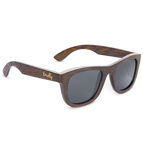 Emolly Brown Bamboo Sunglasses - Unique Wood Wayfarers with Tribal Pattern on Arms! Lightweight, Polarized to Reduce Glare - 100% UV Rays Protection for your Eyes while Driving, or Outdoors! ...