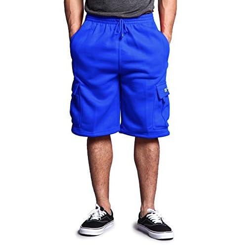 Discount G-Style USA Men's Solid Fleece Cargo Shorts DFP1 - ROYAL BLUE - Medium for cheap