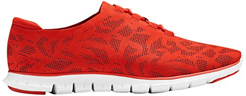 Cole Haan Dames Zerogrand Geperforeerde Trainer Fashion Sneaker Firey Red Perf Nubuck-optic White