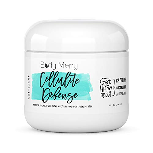 Body Merry Cellulite Defense Gel-Cream - Anti Cellulite Body Treatment for Firming & Toning w/Natural Caffeine + Coconut Oil + Peppermint (Original