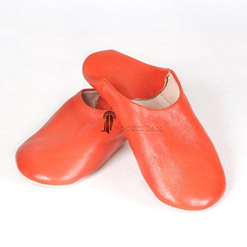 Babouche Kenza orange, Babouche marocaine en cuir véritable, pantoufles alliant du confort et de l'élégance, chaussons cousus ma