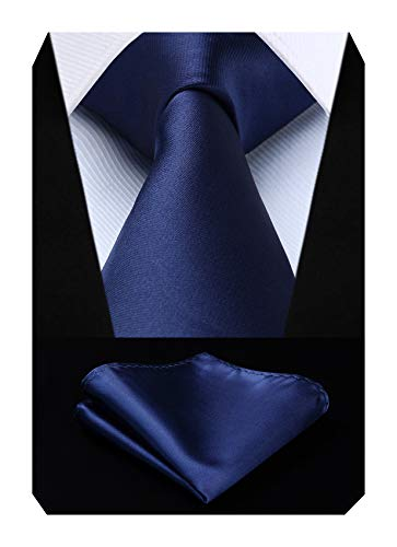 Mens Solid Color Ties Formal Satin Necktie and Pocket Square Set Wedding, by HISDERN