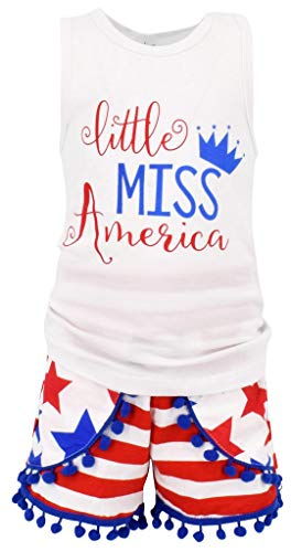 Unique Baby Girls Little Miss America Patriotic 4th of July Outfit (2T/XS) Red -