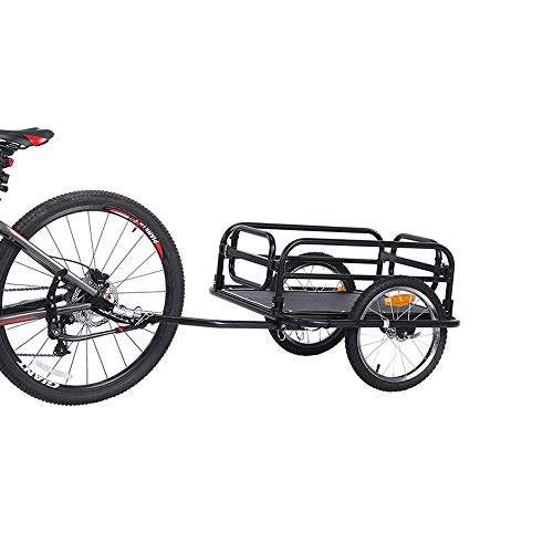 QWERTOUY 16inch Big Wheel Bicycle Trailer, Large Capacity Foldable Bicycle Cargo Trailer, Air Wheels Wagon for Outdoor…