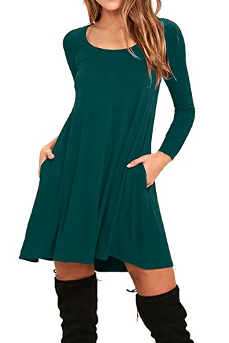 AUSELILY Women's Pockets Casual Swing T-shirt Dresses (L, Long sleeve-Dark Green)