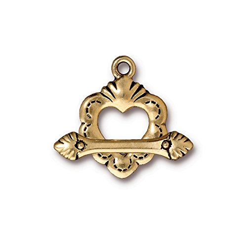 (TierraCast Toggle Sacred Heart, 24.5mm, Antiqued 22K Gold Plated Pewter, 2-Pack)