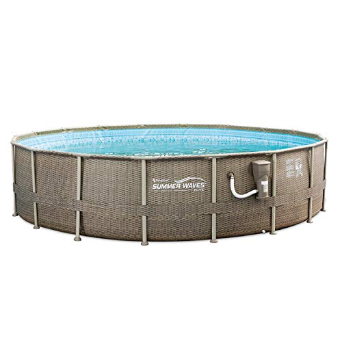 - Summer Waves 18 Foot Elite Frame Swimming Pool with Exterior Wicker Print, Brown
