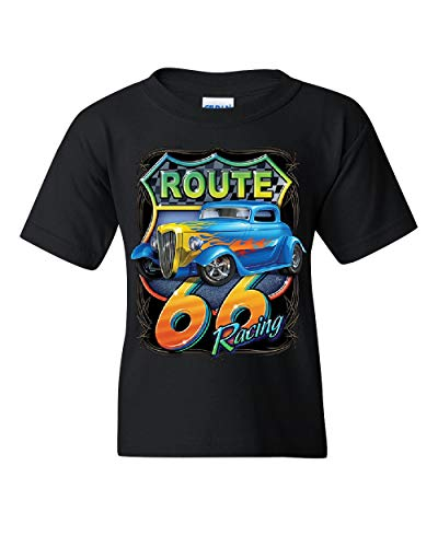 (Hot Rod Route 66 Sign Youth T-Shirt American Muscle Classic History Kids Tee Black L)