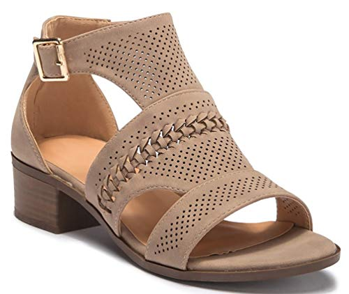 LUSTHAVE Women's Open Toe Strappy Buckle Platform Wooden Finish Heel Sandals Soft Cushioned Cut Out Shoes Khaki 8