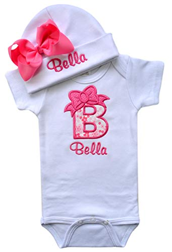 Baby Girl Embroidered Initial Onesie Bodysuit and Matching Grosgrain Bow Hat with Your Custom Name (3-6 Months, Pink Flowers with Hot Pink Bow - Monogrammed Hats Baby