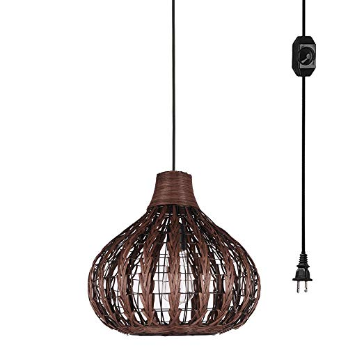 (Kiven Handmade Weaving Brown Color Bamboo Rattan Chandelier Pendant Lighting Hollow Lampshade E26 with 15ft UL Listed Plug-in Dimmable Switch Cord Bulb Not Included)