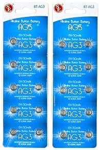 20pc AG3 Alkaline Button Cell Watch Battery 1.5V / 30 mAh