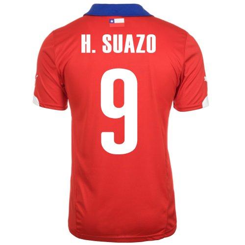 光沢モロニック具体的にPuma H. Suazo #9 Chile Home Jersey World Cup 2014/サッカーユニフォーム チリ ホーム用 ワールドカップ2014 背番号9 ウンベルト?スアソ