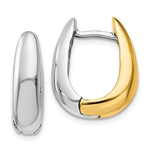 Mia Diamonds 14k Gold Two-tone U Shaped Hinged Hoop Earrings ()