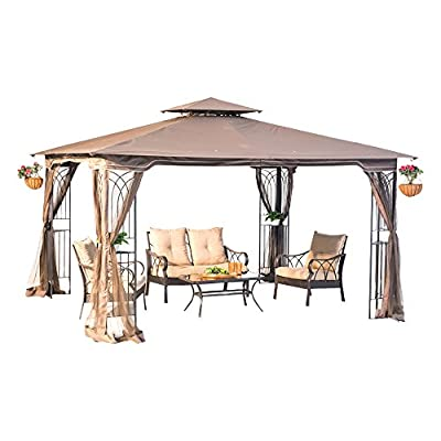 Sunjoy 110109196 Original Replacement Canopy for Regency Gazebo (10X12 Ft) L-GZ798PST-E Sold at OSJ, Tan : Garden & Outdoor