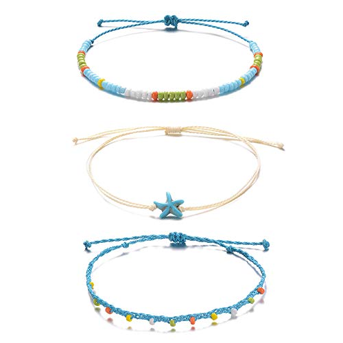 Tarsus Hand-Woven Surfer Layerable Starfish Beaded Ankle Bracelets for Women Teen Girls 3 Anklets Set