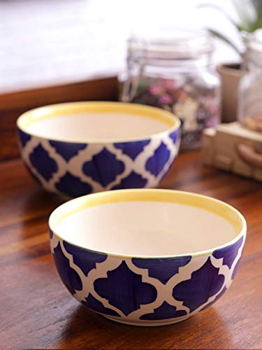 VarEesha Moroccan Ceramic 6 inch Mixing and Serving Bowl Set, Set of 2, Blue