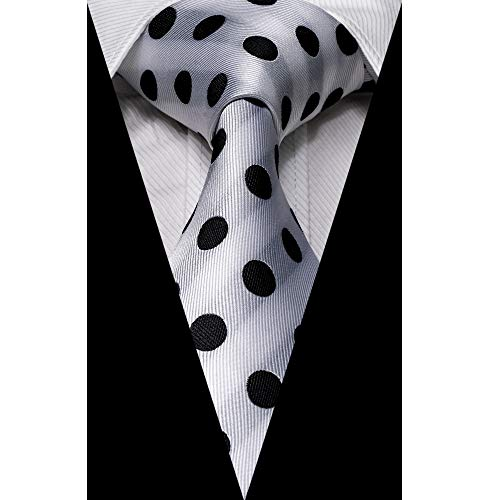 Paisley & Plaid Tie Handkerchief Woven Classic Men's Necktie & Pocket Square Set (White,Black)