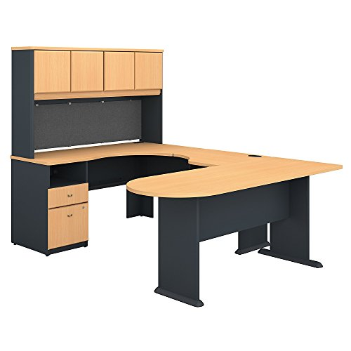 Bush Business Furniture Series A U Shaped Desk with Hutch, Peninsula and Storage - Beech/Slate 71W X 92D X 66H ERGONOMICHOME BUSH BUSINESS FURNITURE Scroll Down for Product Description