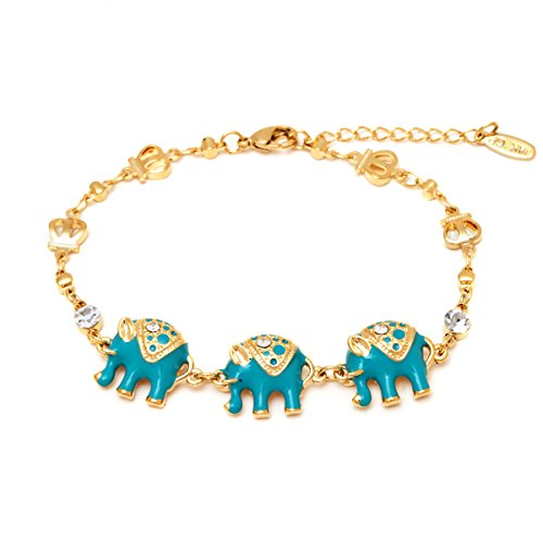 Gold and Blue Elephant Enamel Bracelet
