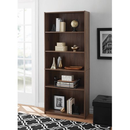 Mainstays 5-Shelf Wood Bookcase - WALNUT