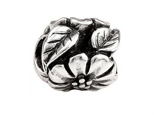 SilveRado Sterling Silver Flower and Leaf Bead / Charm