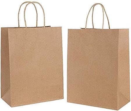 15PCS Bolsas de Papel con Asas 26 x12x 32cm,Bolsas de Papel Compra,Bolsas Ppapel Kraft,Bolsas Papel Regalo para la Tienda de Comestibles para Hornear Compras Minoristas Boutique (Espesar 130 g / m2)