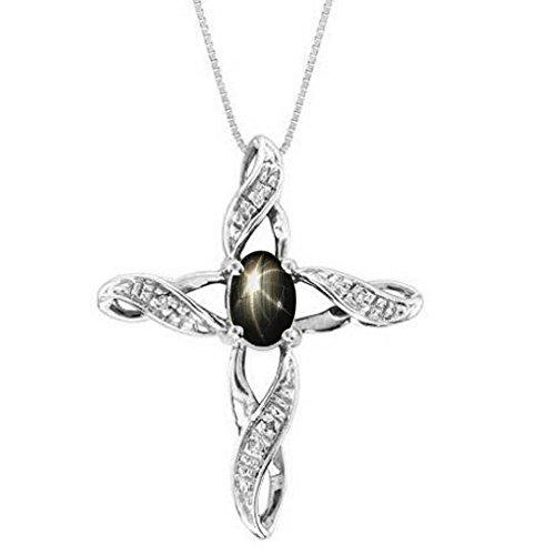Diamond & Black Star Sapphire Cross Pendant Necklace 14K Yellow or 14K White Gold (Black Sapphire Cross)