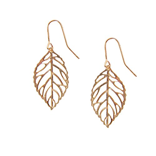 Humble Chic Women's Tiny Leaf Dangle Earrings Lightweight Delicate Cutout Drops