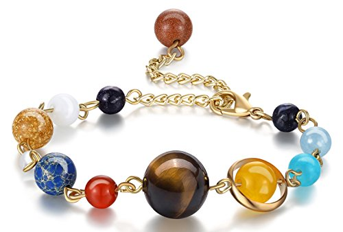 Fesciory Women Girls Solar System Bracelet Universe Galaxy The Eight Planets Guardian Star Natural Stone Beads Bracelet Bangle for Men(Gold(Adjustable))