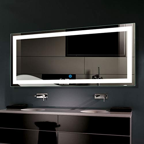 Horizontal LED Bathroom Silvered Mirror with Touch Button,60 x 28 In -
