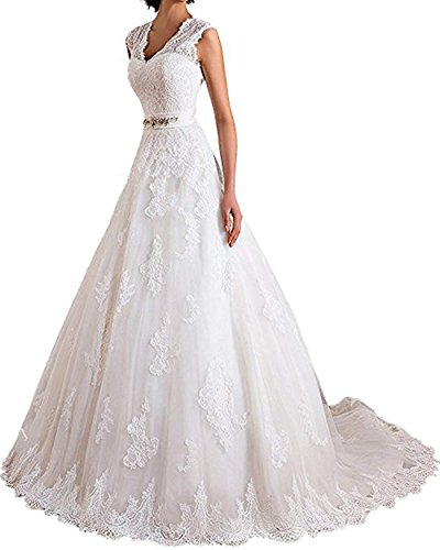 Onlylover V Neck A Line Wedding Dresses for Bride Lace Appliques Bridal Gowns with Crystal Beaded Belt Customized