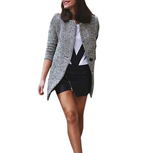 2019 Auwer Women's Long Jacket Notched Lapel Trench Parka Coat Slim Autumn Warm Wool Lapel Overcoat Outwear (L, Black)