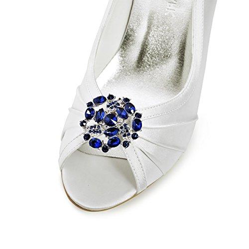 ElegantPark AM Mujer's Cristales Embragues Vestido Sombrero Zapato Clips Azul Marino 2 Pcs KZESD0Ov
