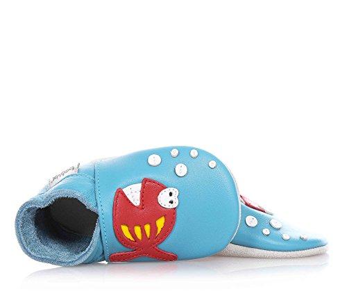 Bobux-Chaussons en cuir Soft soles poisson fishy bleu (9-15 mois)