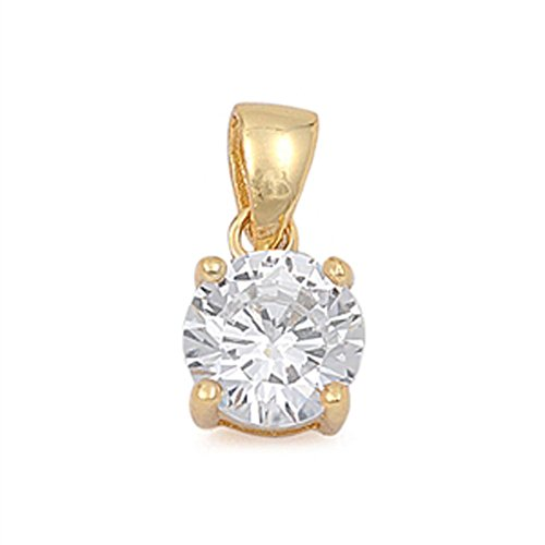 Gold-Tone Round Solitaire Pendant Clear Simulated CZ .925 Sterling Silver Charm - Silver Jewelry Accessories Key Chain Bracelet Necklace Pendants