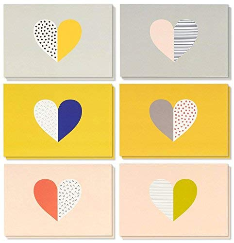 All Occasion Greeting Cards Box Set - 36-Pack Greeting Cards, 6 Heart Pattern Designs, Envelopes Included, 4 x 6 inches