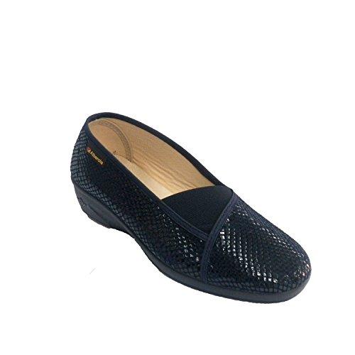 chaussure femme simule chaussures en caoutchouc imprimé serpent vamp Alberola en bleu
