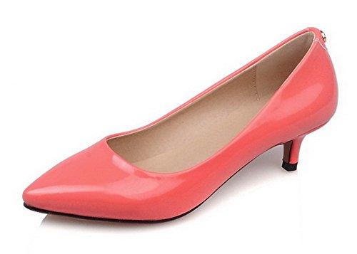 VogueZone009 Damen Mittler Absatz Lackleder Rein Ziehen auf Pumps Schuhe Wassermelone Farbe