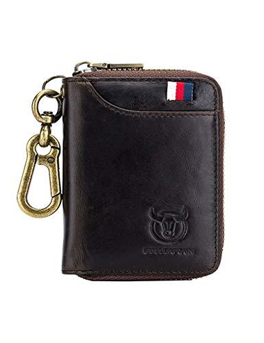 Leather Car Smart Keychain Metal Hook Zipper Bag Remote Control Handbag Pocket Key Storage Boxcar Keychain Key Bag Unisex Function Change Card Package (Brown)