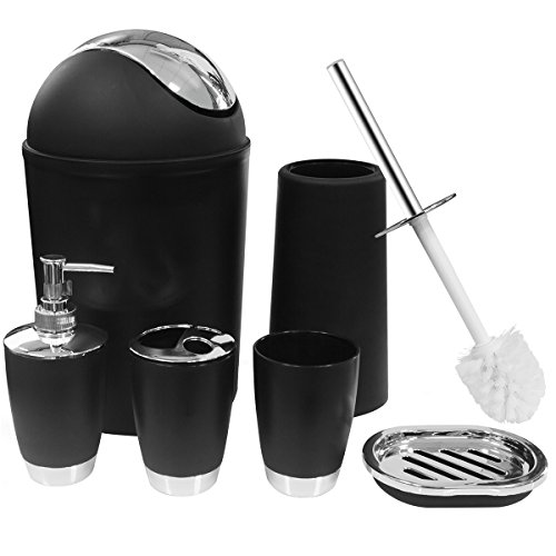 SOELAND Bathroom Accessories Sets Complete, Update Version 6 PiecesBathroom Ensemble Set Collection with Lotion Dispenser Toothbrush Holder Bathroom Tumblers Soap Dish Trash Can Toilet Brush- Black by SOELAND