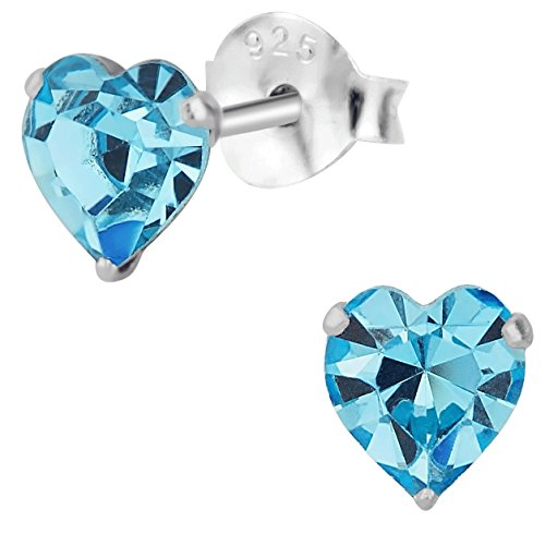 Hypoallergenic Sterling Silver Aquamarine Crystal Heart Stud Earrings for Kids (Nickel Free) (Crystal Silver Earrings Heart Sterling)