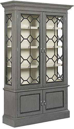 Display Cabinet Woodbridge Vashon Gray White Dramatic Glass Lighted Interior by Woodbridge Furniture