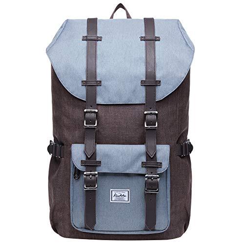 "KAUKKO Laptop Outdoor Backpack, Travel Hiking& Camping Rucksack Pack, Casual Large College School Daypack, Shoulder Book Bags Back Fits 15"" Laptop & Tablets (GREYCOFFEE)"